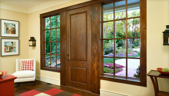 Exterior doors with decorative glass types and sidelights